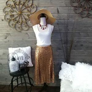 Lane Bryant Gold Sequin Swing Skirt